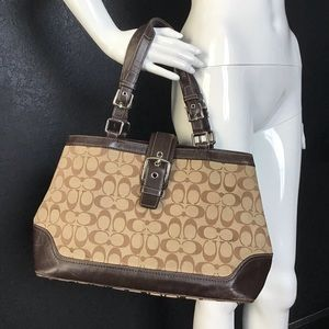 Coach Legacy Textile and Leather C print bag